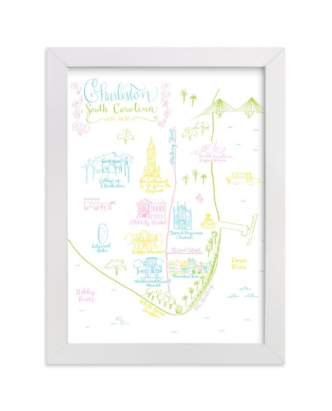 """Charleston, South Carolina Map"" - Art Print by Megan Kelso in beautiful frame options and a variety of sizes."