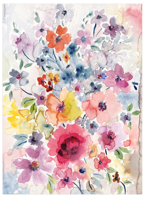 """Watercolor Flowers 1"" - Art Print by Susanna Nousiainen in beautiful frame options and a variety of sizes."