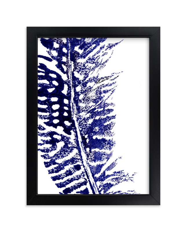"""""""Indigo Feather II"""" - Art Print by Stephanie Toral in beautiful frame options and a variety of sizes."""