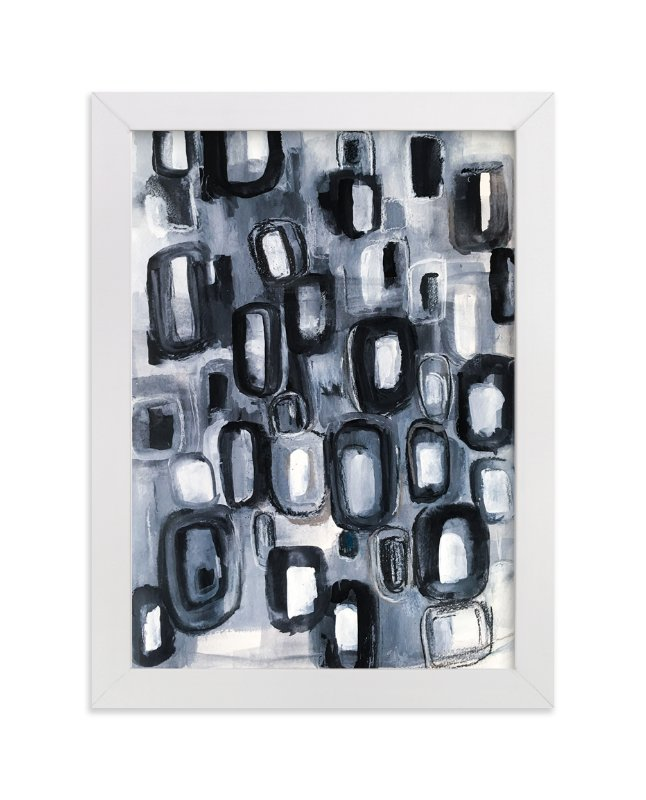 """""""Black and Gray Stone Abstract Painting"""" - Art Print by Melanie Biehle in beautiful frame options and a variety of sizes."""