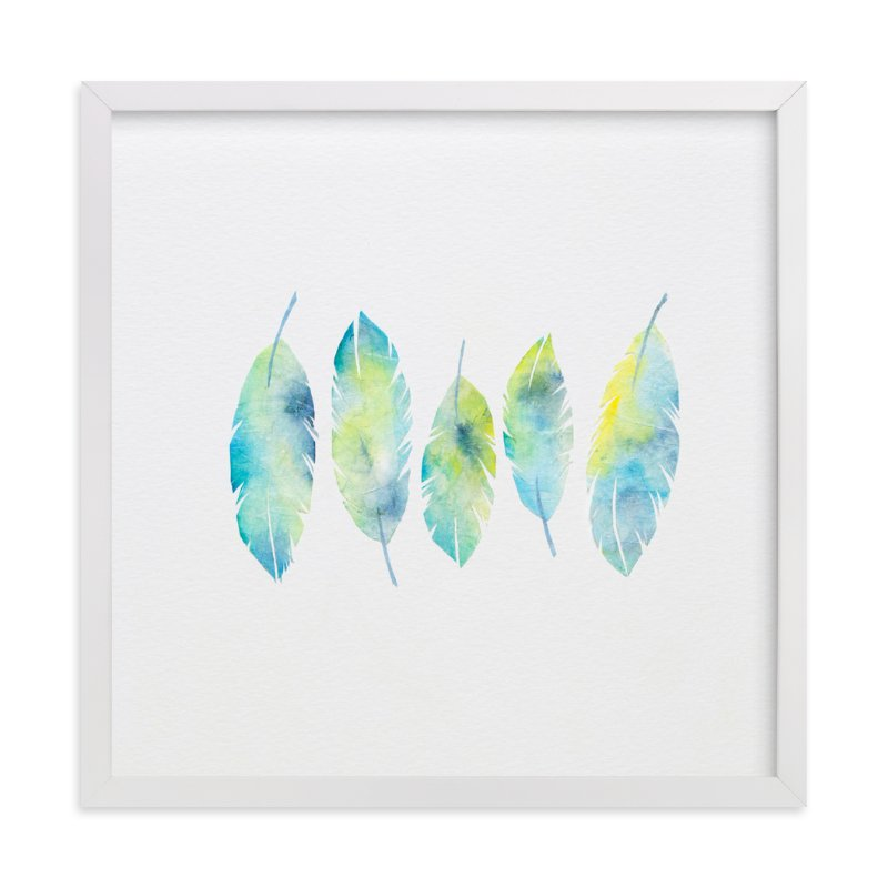 """Feathers Collage"" - Art Print by Mia Posada in beautiful frame options and a variety of sizes."