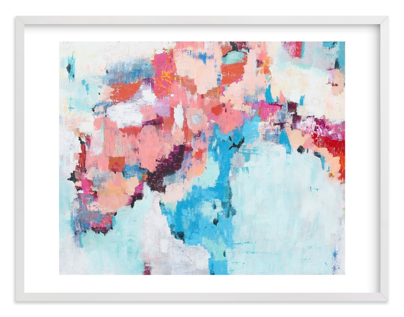 """Pink and Blue Abstract Painting"" - Art Print by Caryn Owen in beautiful frame options and a variety of sizes."