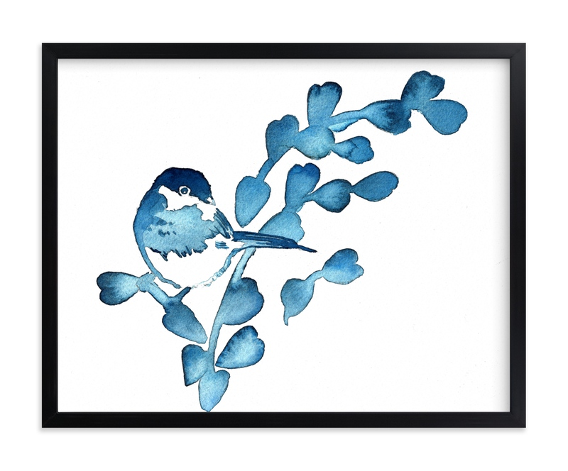 """""""Blue Chickadee I"""" - Art Print by Stephanie Toral in beautiful frame options and a variety of sizes."""