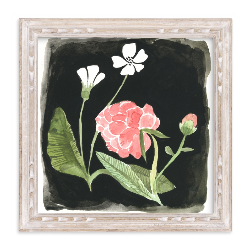"""Nightime Peony"" - Art Print by Emilie Simpson in beautiful frame options and a variety of sizes."