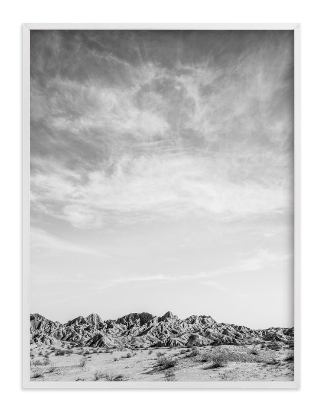 This is a black and white art by Kamala Nahas called Painted Canyon Sky 3.