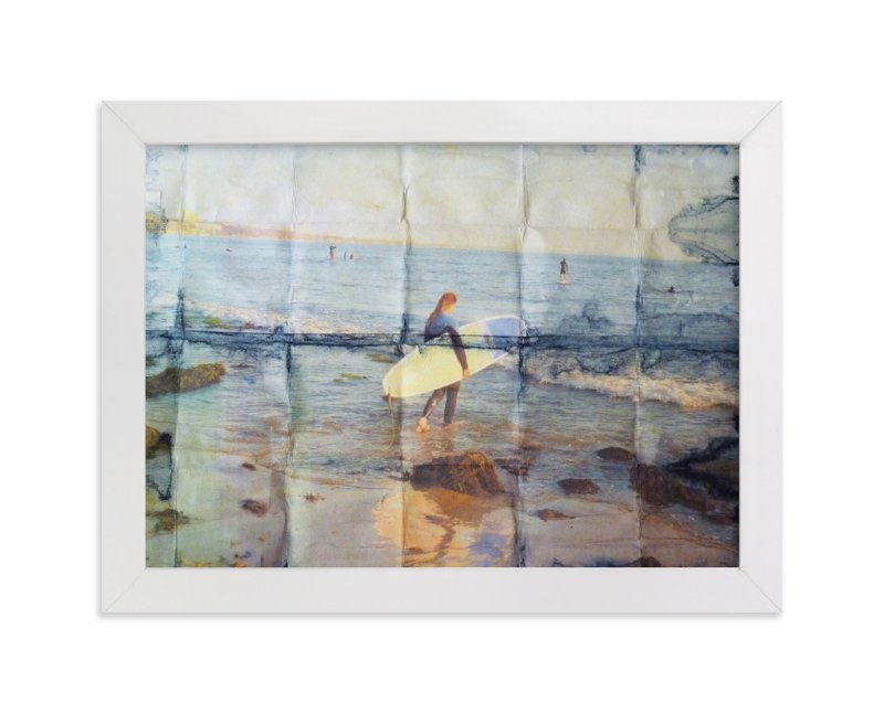 """""""Indigo Surfer Girl, Venice Beach"""" - Art Print by Annie Seaton in beautiful frame options and a variety of sizes."""