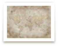 Vintage sepia world map by Rosana Laiz · Blursbyai