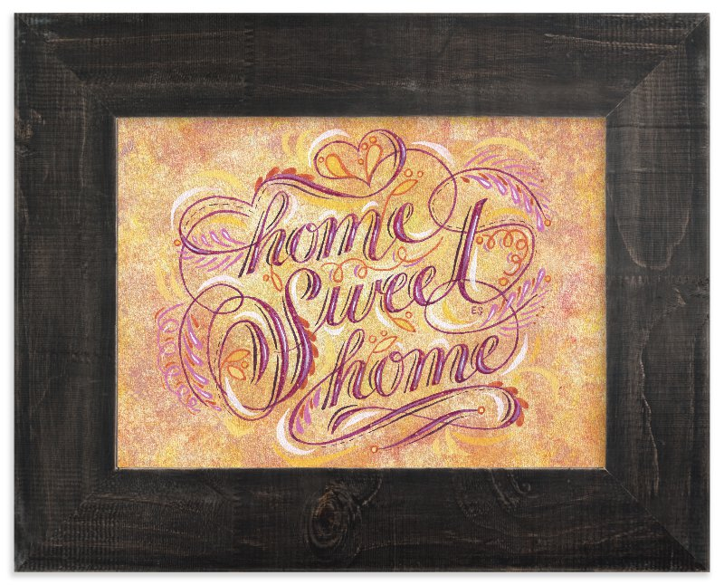 """""""Home Sweet Home Lettering"""" - Art Print by Elaine Stephenson in beautiful frame options and a variety of sizes."""