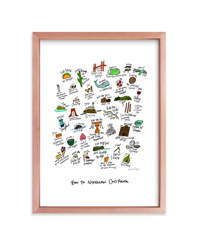 """""""How to Northern California"""" - Art Print by KirstenEva in beautiful frame options and a variety of sizes."""