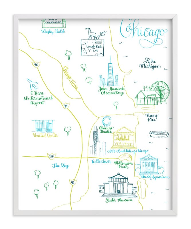 """""""Chicago Calligraphy Map"""" - Art Print by Megan Kelso in beautiful frame options and a variety of sizes."""