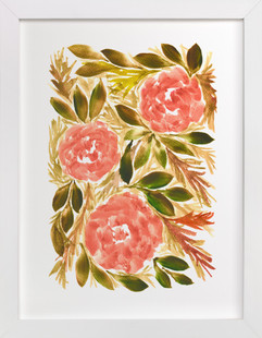 hand painted flowers_1B  Art Print