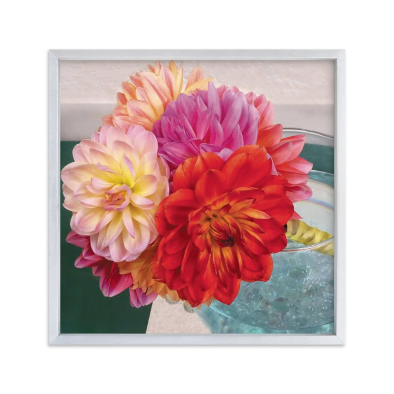 """""""Bridal Bouquet Dahlias"""" - Art Print by A Maz Designs in beautiful frame options and a variety of sizes."""