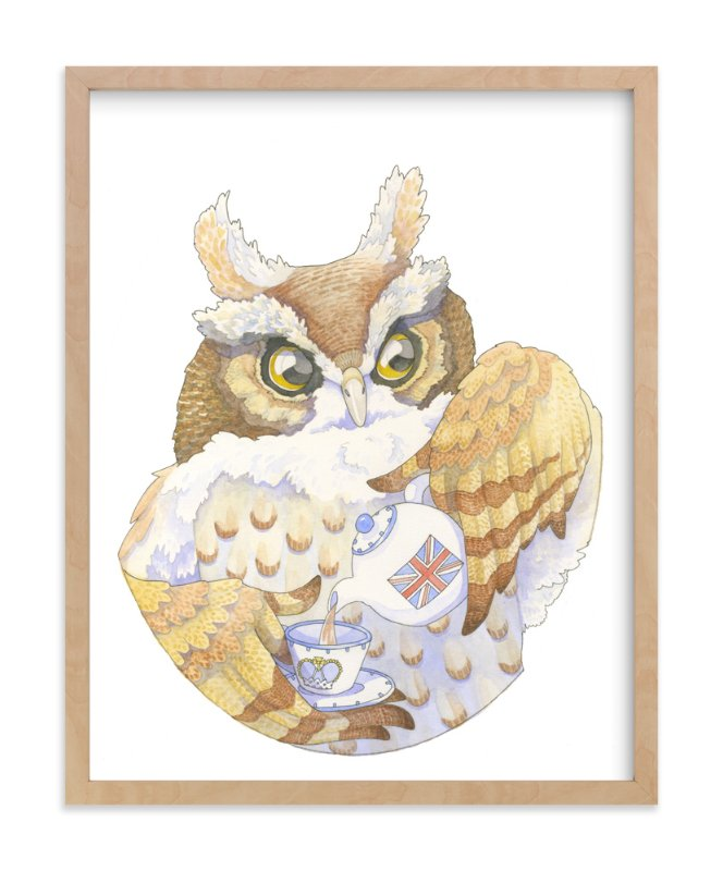 """Mr. Owl's English Tea"" - Art Print by Natalie Groves in beautiful frame options and a variety of sizes."