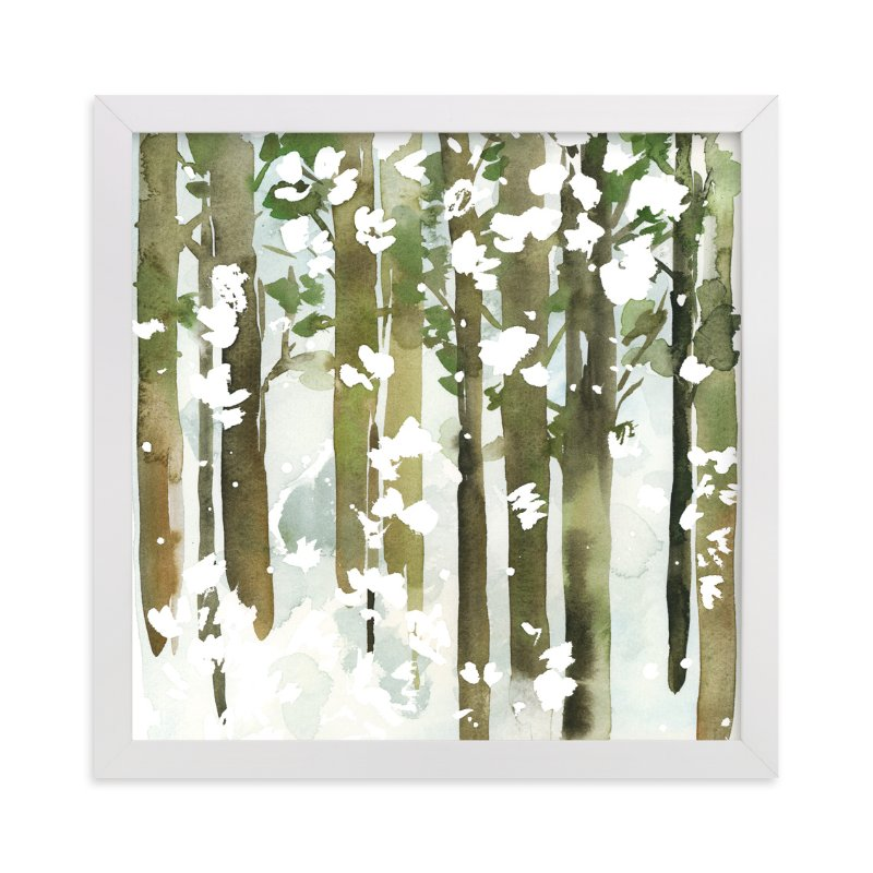 """""""Forest Snow- Square"""" - Art Print by Yao Cheng Design in beautiful frame options and a variety of sizes."""