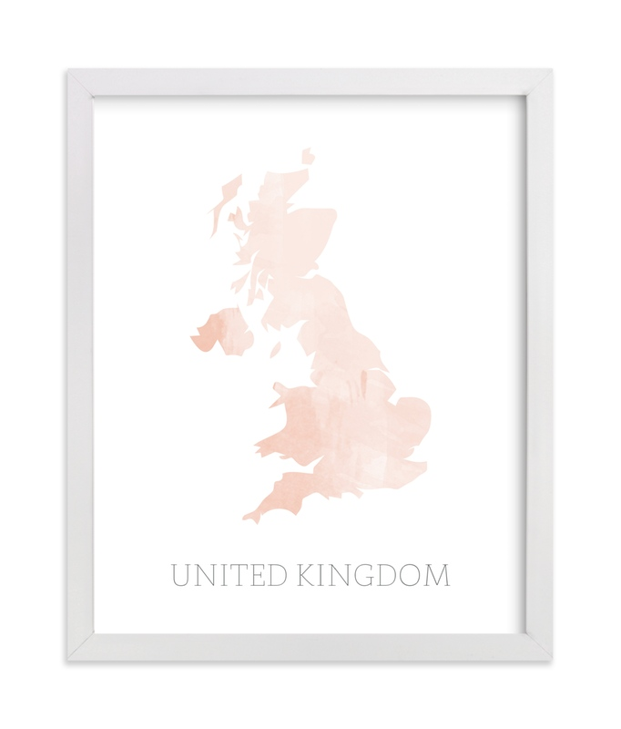 """""""Pink Watercolour Britain Map"""" - Art Print by Katrina Lindhorst in beautiful frame options and a variety of sizes."""