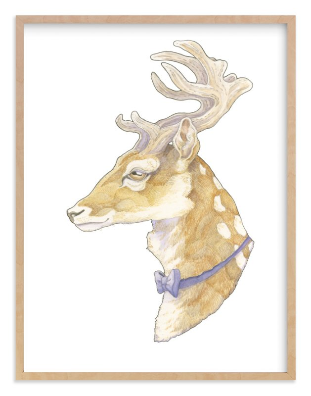 """Mr Deer"" - Art Print by Natalie Groves in beautiful frame options and a variety of sizes."