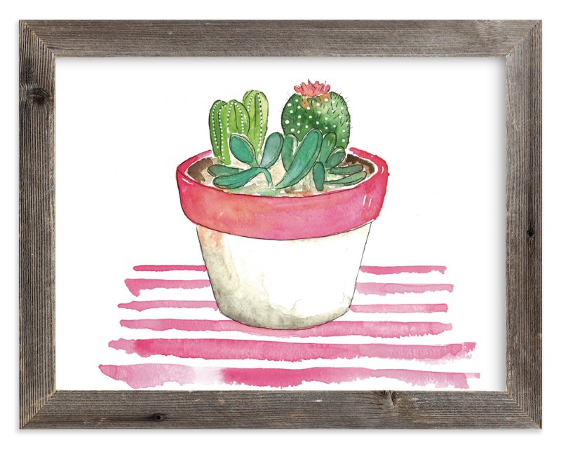 """""""The Stripped Cactus"""" - Art Print by Kelsey McNatt in beautiful frame options and a variety of sizes."""