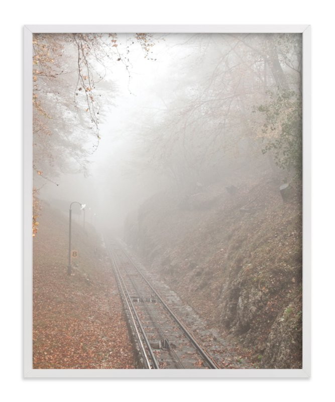 """Mountain train track in misty fall."" - Art Print by van tsao in beautiful frame options and a variety of sizes."