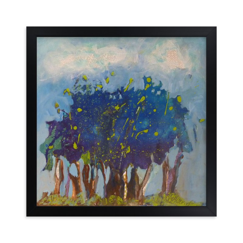 """Notre petite forêt bleue"" - Art Print by Johanne Roy in beautiful frame options and a variety of sizes."
