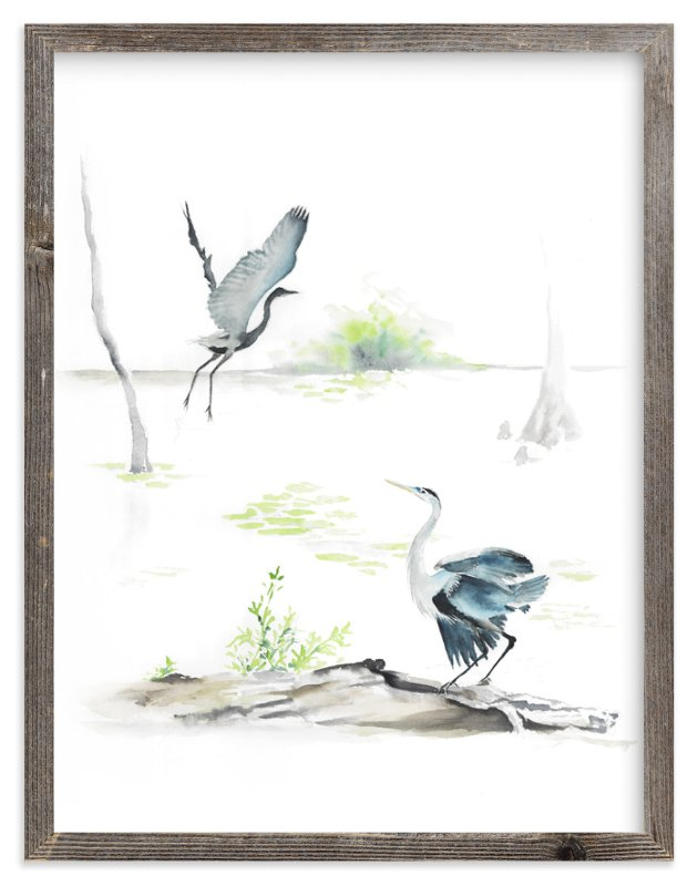 """herons on the marsh"" - Art Print by Annie Moran in beautiful frame options and a variety of sizes."