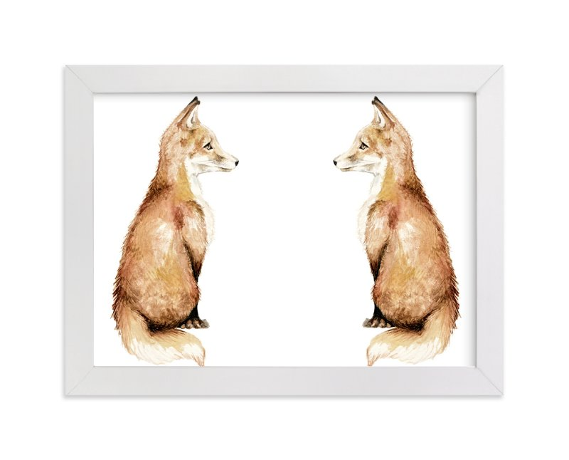 """Fancy foxes"" - Art Print by Lauren Rogoff in beautiful frame options and a variety of sizes."