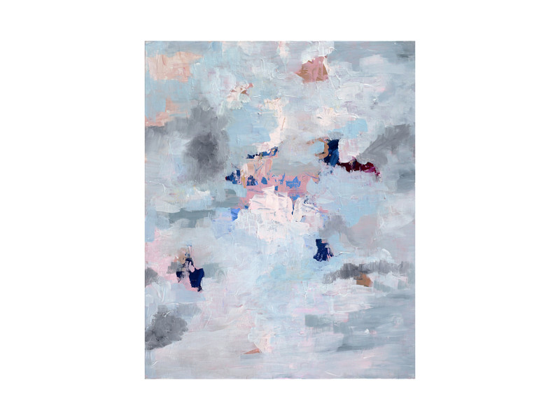 Light Blue, Gray, and Pink Abstract Art Wall Art Prints by Caryn ...