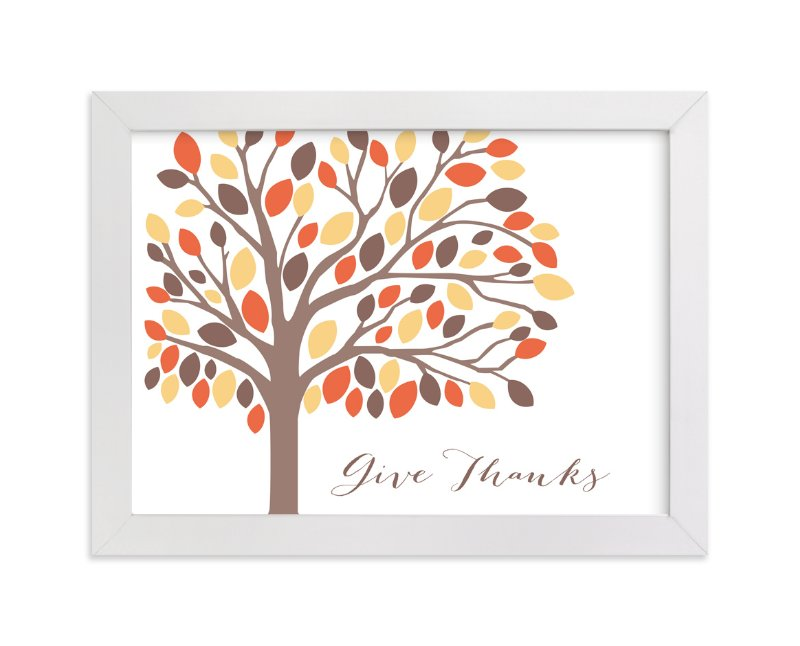 """Give Thanks Tree"" - Art Print by Rebecca Lowe in beautiful frame options and a variety of sizes."