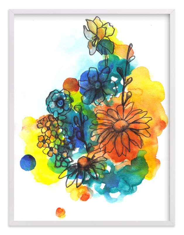 """""""Summer Bouquet"""" - Art Print by Sonal Nathwani in beautiful frame options and a variety of sizes."""
