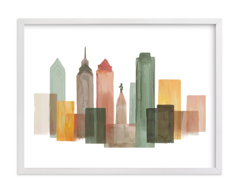 """Philadelphia Skyline"" - Art Print by Katherine Moynagh in beautiful frame options and a variety of sizes."