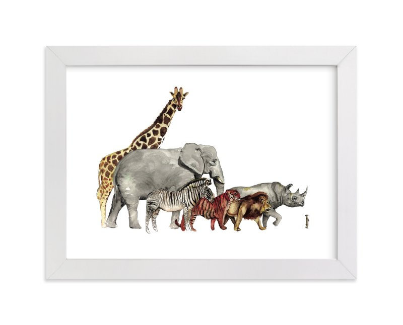 """""""Safari Animal Parade"""" - Art Print by Danielle Elizabeth in beautiful frame options and a variety of sizes."""