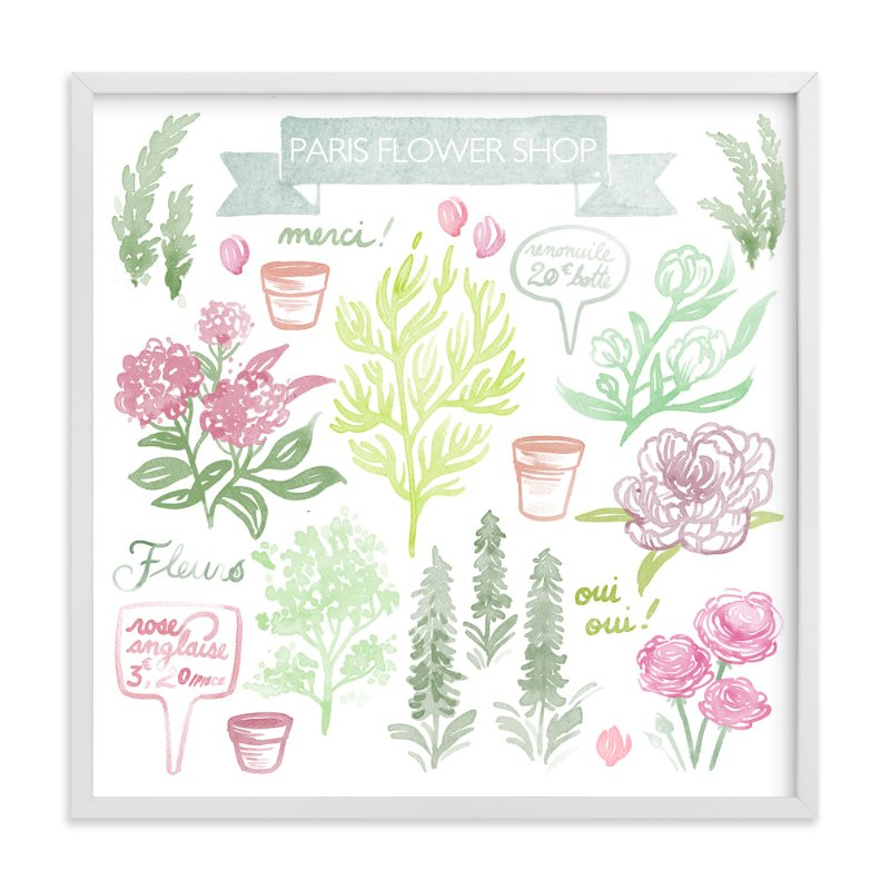 """French Flower Shop"" - Art Print by Paper Raven Co. in beautiful frame options and a variety of sizes."