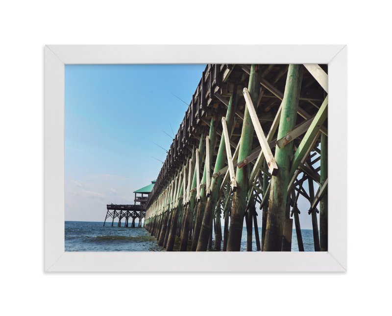 """""""Fishing off the Pier"""" - Art Print by Jessica Marchetti in beautiful frame options and a variety of sizes."""