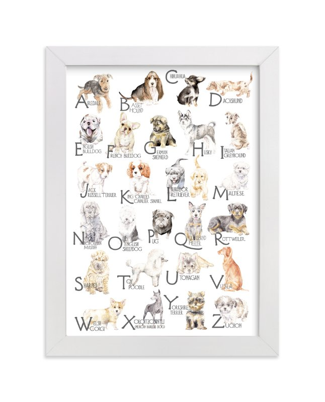 """""""Dog Breeds A-Z"""" - Art Print by Lauren Rogoff in beautiful frame options and a variety of sizes."""