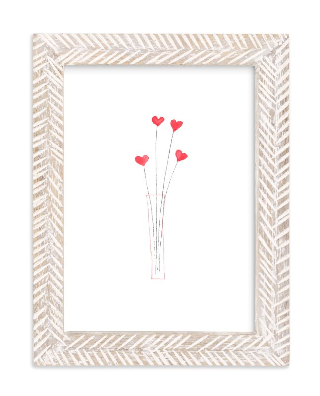 """""""Watercolor Heart Bouquet"""" - Art Print by Belia Simm in beautiful frame options and a variety of sizes."""