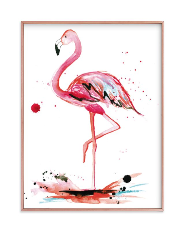 """""""Pink Flamingo"""" - Art Print by Kelsey McNatt in beautiful frame options and a variety of sizes."""