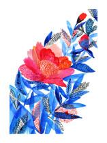 Red flower Marketplace Art Print