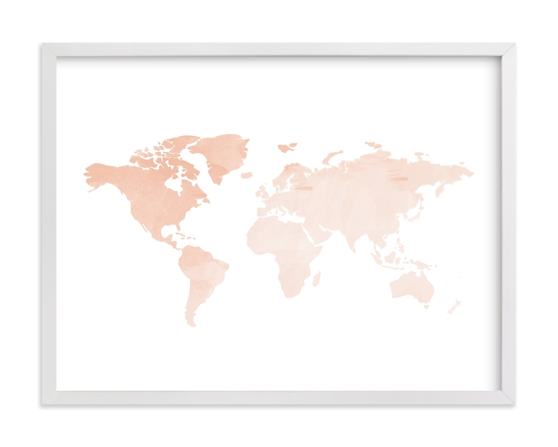 """""""Blush Watercolor World Map"""" - Art Print by Katrina Lindhorst in beautiful frame options and a variety of sizes."""