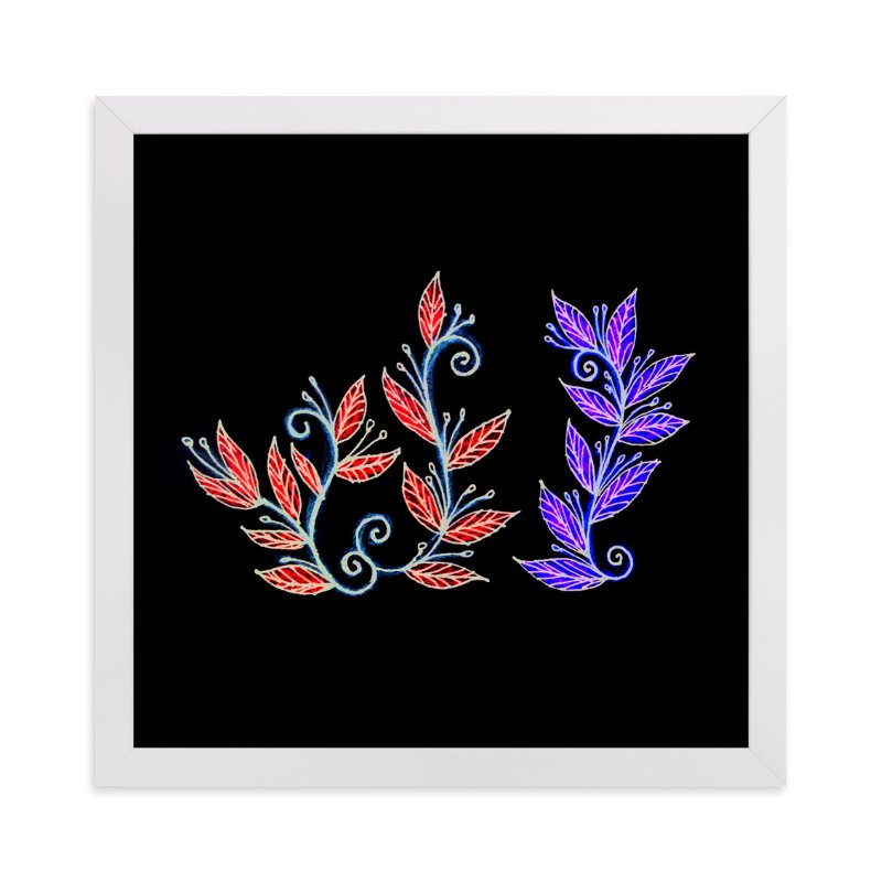 """doodle leaves"" - Art Print by aticnomar in beautiful frame options and a variety of sizes."
