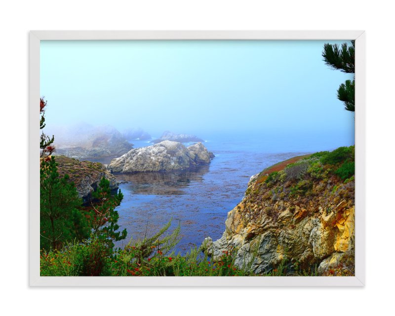 """Land welcomes the ocean"" - Art Print by NSMARK in beautiful frame options and a variety of sizes."
