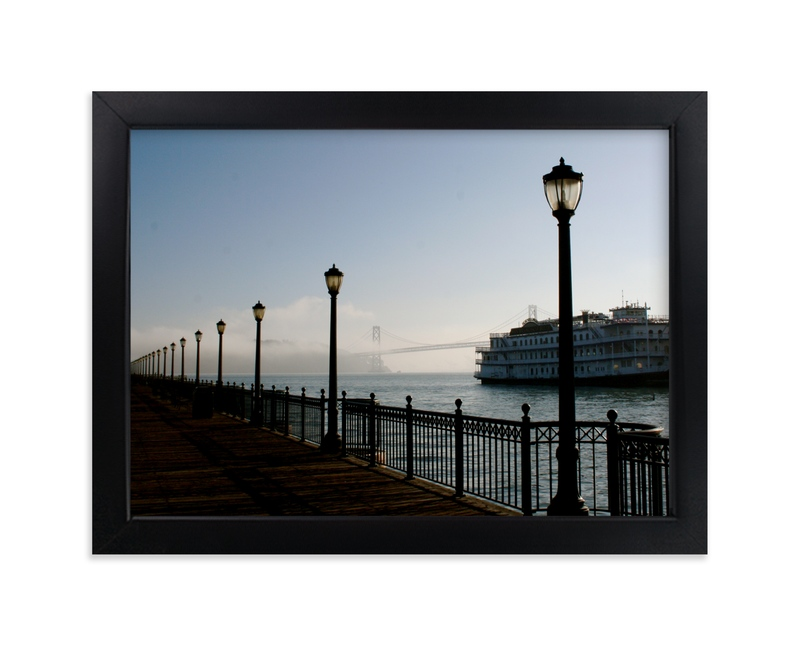 """Foggy Pier"" - Art Print by AJD in beautiful frame options and a variety of sizes."