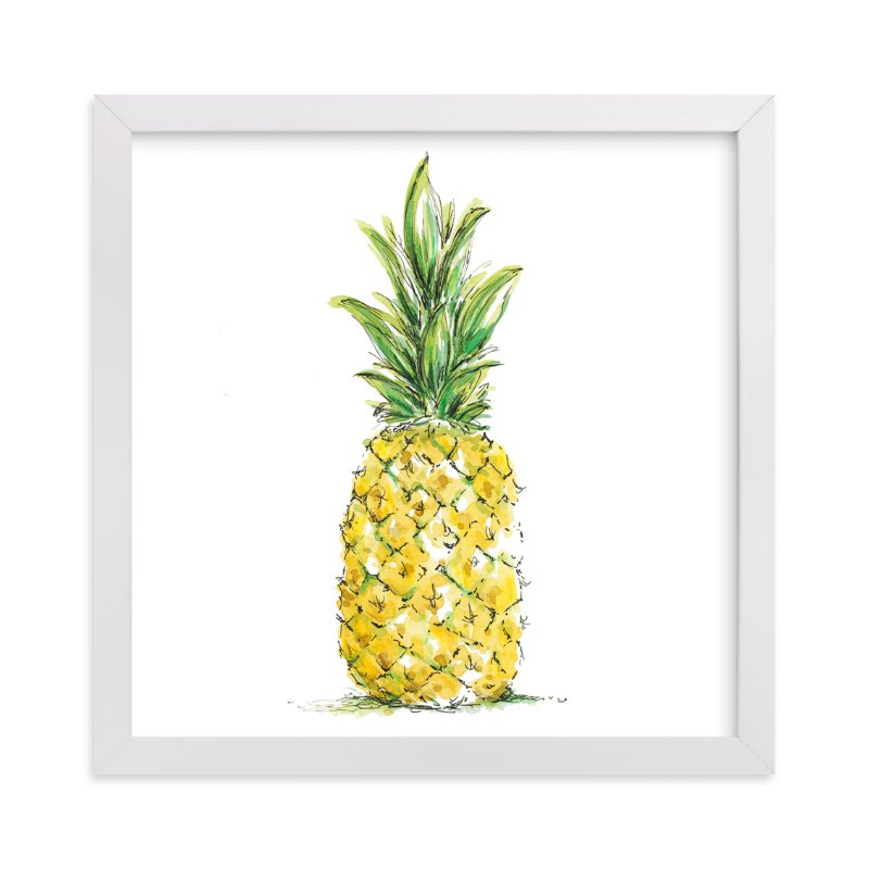"""""""Painted Pineapple"""" - Art Print by Kirby Lee Smith in beautiful frame options and a variety of sizes."""