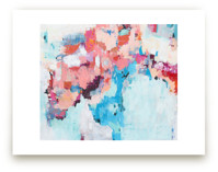 Pink and Blue Abstract... by Caryn Owen