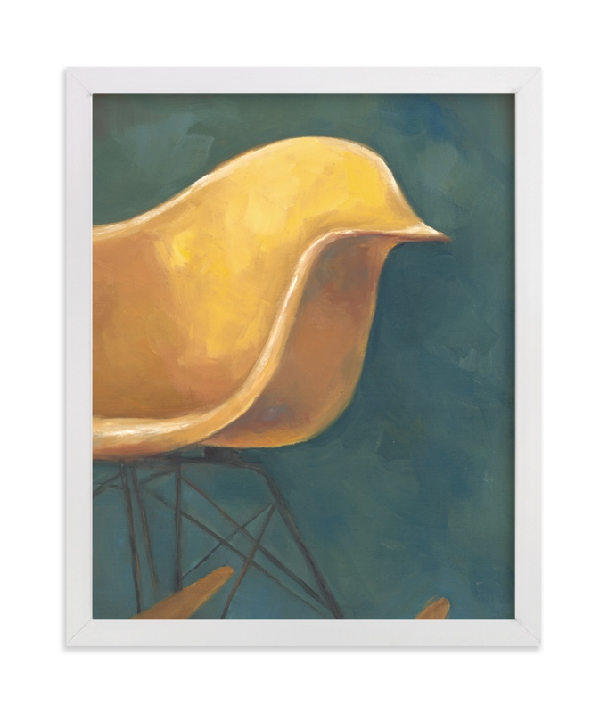 """""""Yellow Eames Rocker"""" - Art Print by Laura Browning in beautiful frame options and a variety of sizes."""