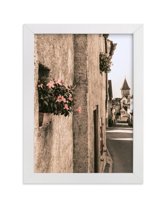"""Flowers in the Village"" - Art Print by Heather Squance in beautiful frame options and a variety of sizes."