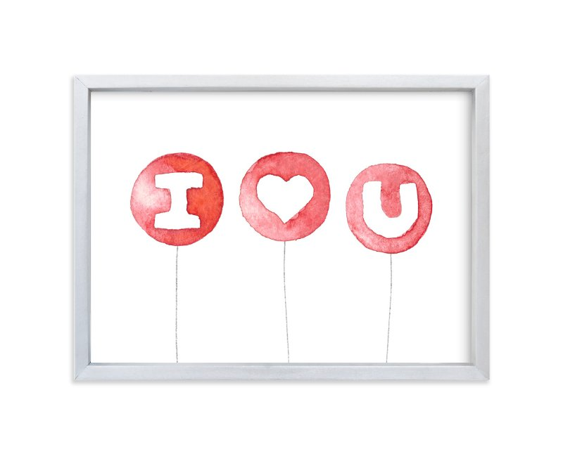 """""""I Heart U Balloons"""" - Art Print by Belia Simm in beautiful frame options and a variety of sizes."""