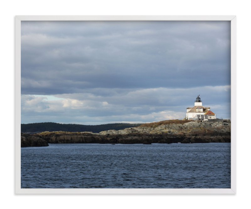 """""""Maine Lighthouse"""" - Art Print by Gray Star Design in beautiful frame options and a variety of sizes."""