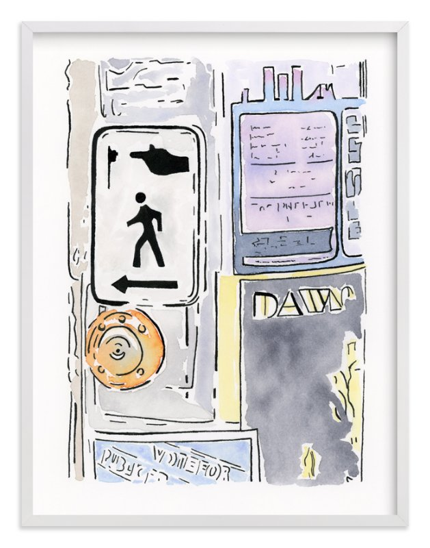 """At The Crosswalk"" - Art Print by Michelle Waldie in beautiful frame options and a variety of sizes."
