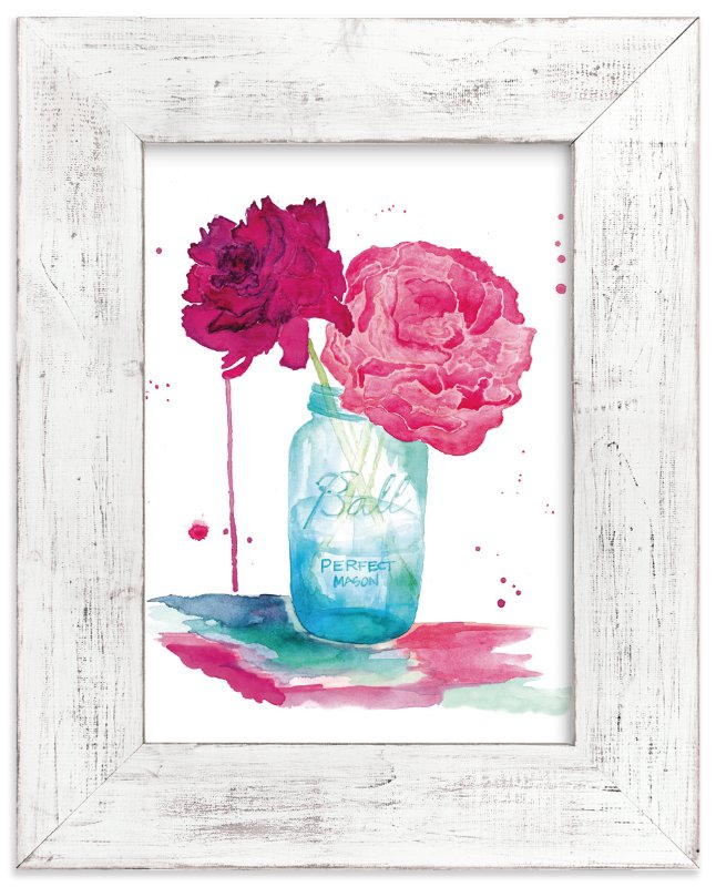 """""""Peonies and a Mason Jar"""" - Art Print by Kelsey McNatt in beautiful frame options and a variety of sizes."""