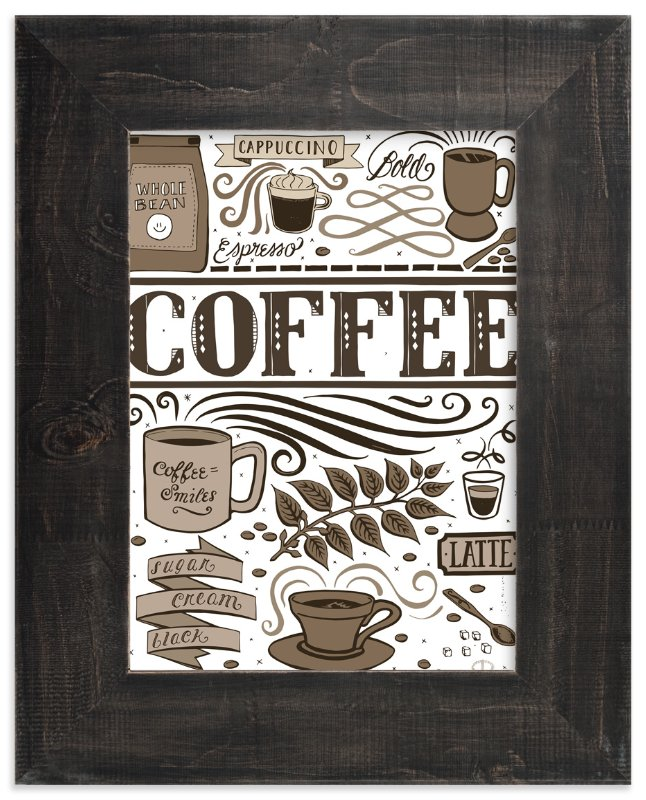 """Coffee Love"" - Art Print by Cynthia Oswald in beautiful frame options and a variety of sizes."