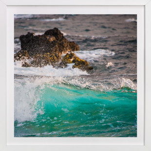 Wave Crashing on Lava Rocks  Art Print